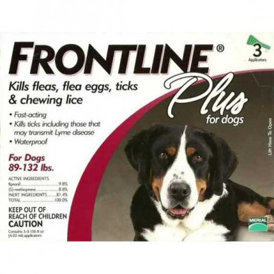 Frontline Flea Control Plus for Dogs And Puppies 89-132 lbs 3 Pack - 89-132-3PK-PS