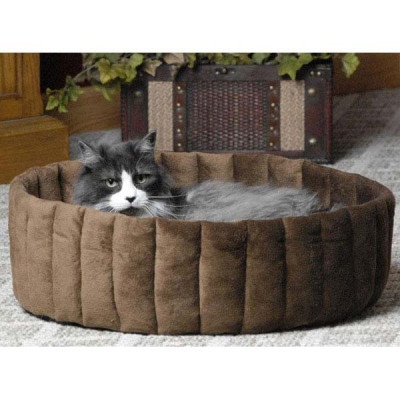 K&H Pet Products Kitty Kup Small Tan and Mocha 16in x 16in x 7in - KH3121