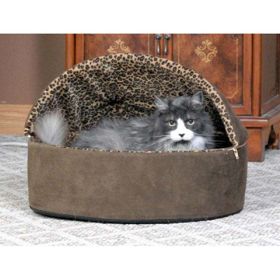K&H Pet Products Thermo-Kitty Bed Deluxe Hooded Small Mocha Leopard 16in x 16in x 14in 4 watts - KH3196