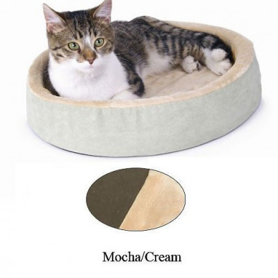 K&H Pet Products Thermo-Kitty Cuddle Up Mocha 16in x 16in x 3in - KH3701
