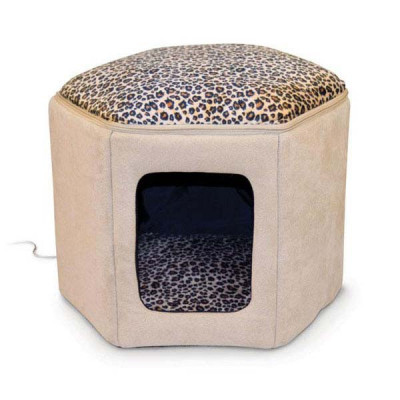 K&H Pet Products Kitty Clubhouse Tan / Leopard (unheated) 17in x 16in x 13in - KH3892