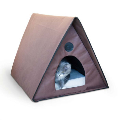 K&H Pet Products Outdoor Kitty A-Frame Chocolate 35in x 20.5in x 20in (unheated) – KH3991