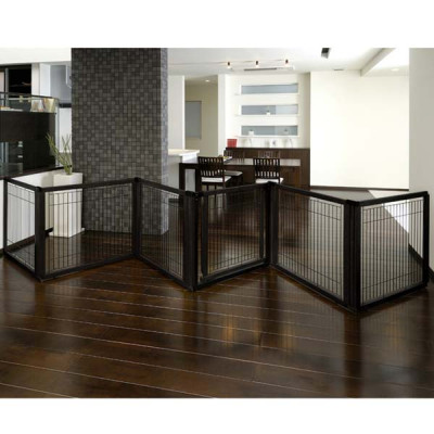 Richell Convertible Elite Pet Gate 6 Panel Black 197.5in x 0.8in x 31.5in - R94188