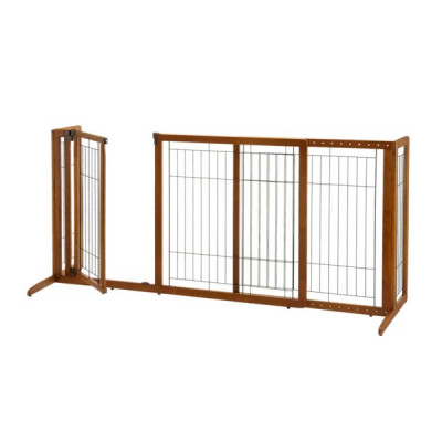 Richell Deluxe Freestanding Pet Gate with Door Large Brown 61.8 - 90.2in x 27in x 36.2in - R94190
