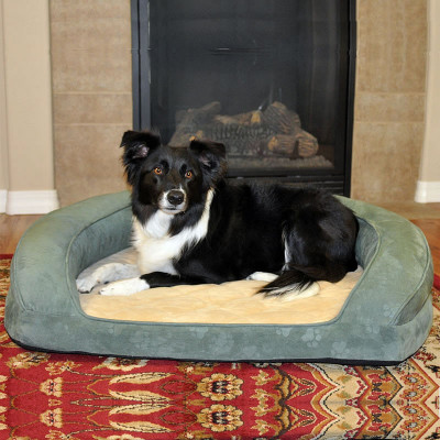 K&H Pet Products Deluxe Ortho Bolster Sleeper -Green