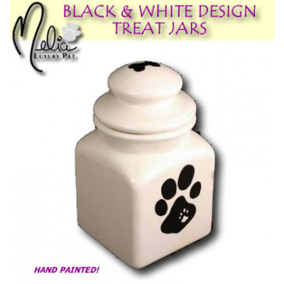 Black - White Dog Treat Jar