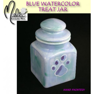 Blue Watercolor Treat Jar