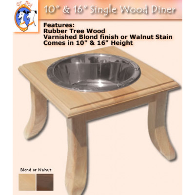 Single Wooden Dog Dining Station