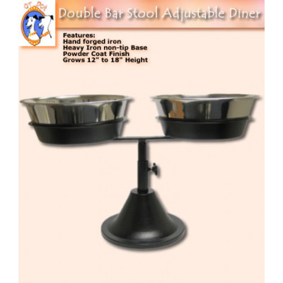 Adjustable Double Barstool Dog Bistro Dining Station