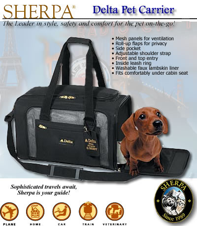 Sherpa delta pet carrier for Delta airlines dogs in cabin