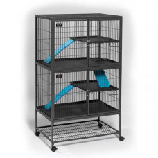 Midwest Ferret Nation Double Unit with Stand Platinum Gray Hammertone 36in x 25in x 62.5in - 182