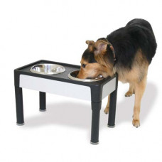 Our Pets Signature Series Black / Sandstone Panel Feeder 8in - HF08BS