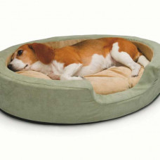K&H Pet Products Thermo Snuggly Sleeper Oval Medium Sage 26in x 20in x 5in - KH1913