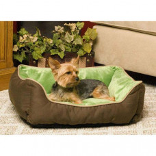 K&H Pet Products Lounge Sleeper Self-Warming Mocha and Green 16in x 20in x 6in - KH3161