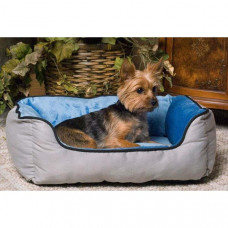K&H Pet Products Lounge Sleeper Self-Warming Gray and Blue 16in x 20in x 6in - KH3162