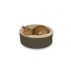 K&H Pet Products Thermo-Kitty Bed Mocha 16in x 16in x 6in - KH3191