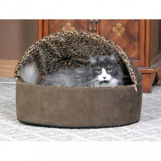 K&H Pet Products Thermo-Kitty Bed Deluxe Hooded Large Mocha Leopard 20in x 20in x 14in 4 watts - KH3198
