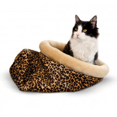 K&H Pet Products Self Warming Kitty Sack Leopard 17in x 17.5in x 4.5in – KH3494