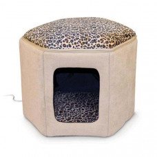 K&H Pet Products Thermo-Kitty Sleephouse Tan / Leopard 17in x 16in x 13in - KH3891