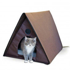 K&H Pet Products Outdoor Heated Kitty A-Frame Chocolate 35in x 20.5in x 20in – KH3992