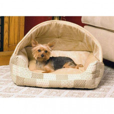 K&H Pet Products Lounge Sleeper Hooded Tan Patchwork
