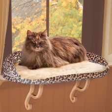 K&H Pet Products Deluxe Kitty Sill with Bolster Leopard