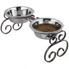 Classic Wrought Iron Double Dog Feeder