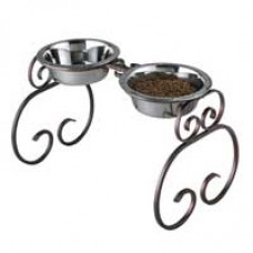 Double Wrought Iron Dog Dining Station - 16""