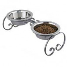 "Classic 7"" Wrought Iron Double Dog Feeder"