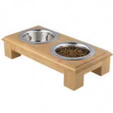 "4"" Wooden Double Dog Dining Station"