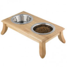 "7"" Wooden Double Dog Dining Station"