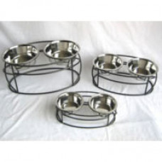 Oval Cross Double Pet Dining Station
